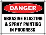 Danger Abrasie Blasting & Spray Painting in Progress