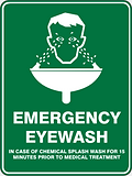 Emergency Eyewash in case of chemical splash wash for 15 minutes prior to medical treatment