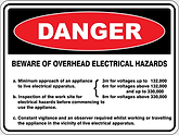 Danger Beware of Overhead Electrical Hazards