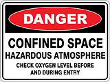 Danger Confined Space Hazardous Atmosphere chec oxygen level before and during entry