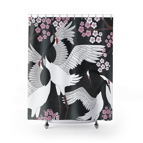 Shower Curtain - Cranes and Cherry Blossoms