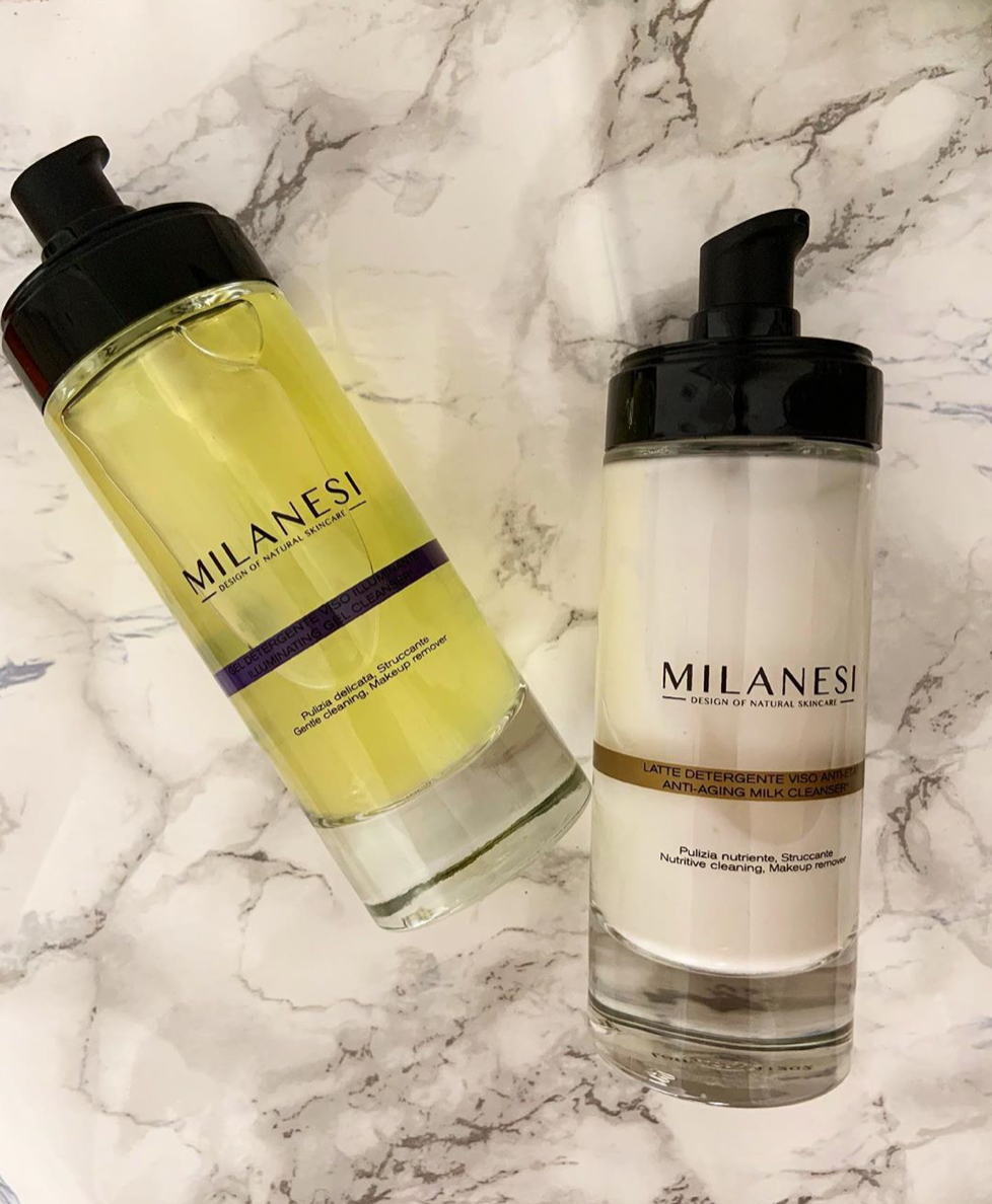 Milanesi skincare's Illuminating Gel Cleanser and Anti-aging Milk Cleanser are the perfect products for a delicate double cleansing.