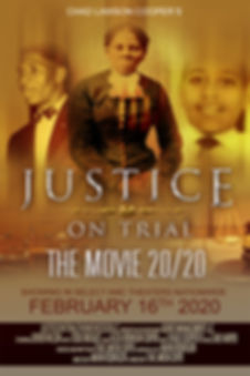 movie poster with Medgar Evers, Harriet Tubman, Emmitt Till for Jusice on Trial