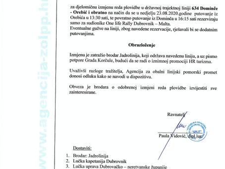 Obavijest o izmjeni plovidbenog reda OREBIĆ-DOMINČE  za 23. kolovoza