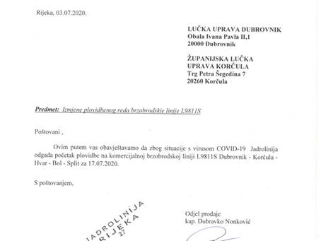 Odgađa se brzobodska linija Dubrovnik-Korčula-Hvar-Bol-Split i obratno