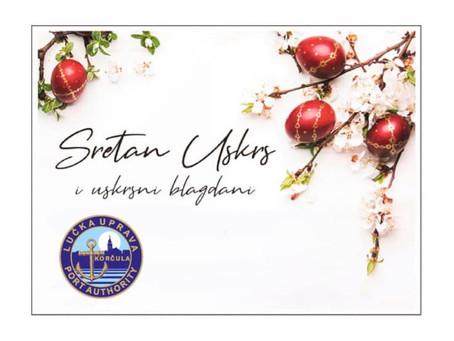 Sretan Uskrs želi Vam Županijska lučka uprva Korčula