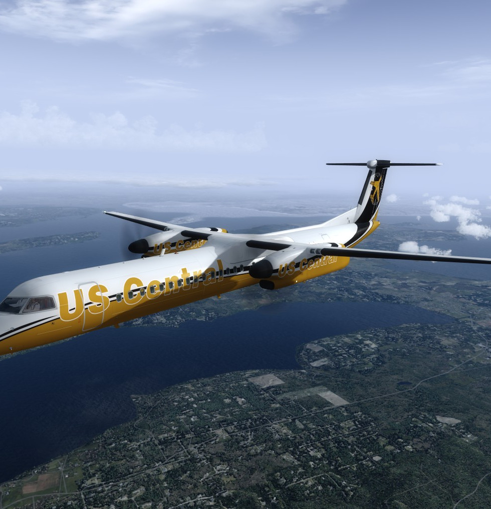Majestic Q400 Dash 8 with the USC livery enroute over Orbx Pacific Northwest