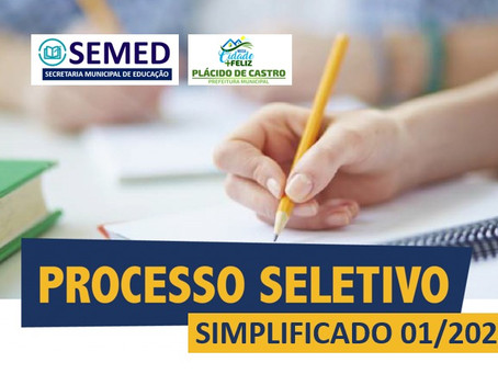 Nota de abertura de edital – Processo Seletivo Simplificado 01/2021.