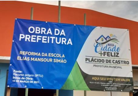 Reforma da Escola Elias Mansour Simão encontra-se em fase de conclusão.