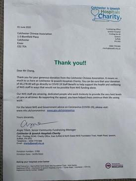 來自NHS的感謝信 A letter of thanks from Colchester & Ipswich Hospitals Charity