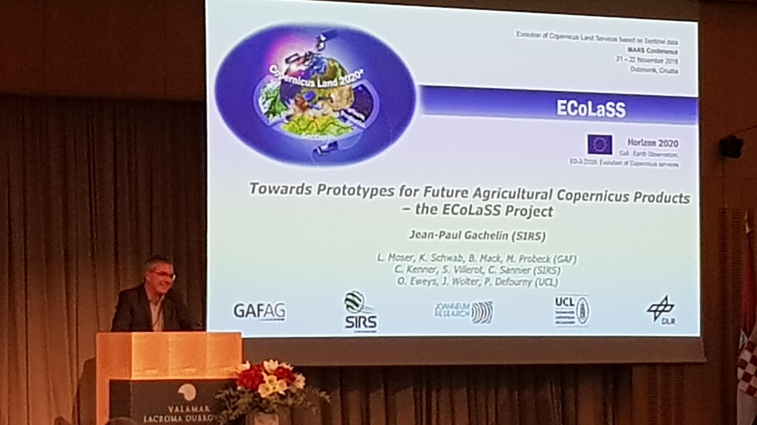 Jean-Paul Gachelin from SIRS presenting ECoLaSS (© GAF AG)