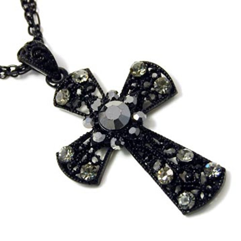 DOUBLE CHAIN COATED CROSS NECKLACE