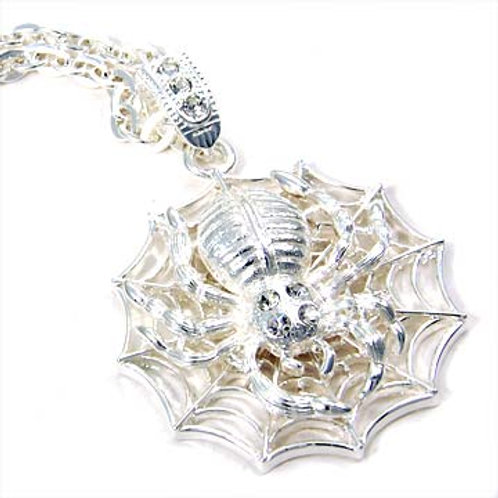 SPIDER PENDANT NECKLACE-SILVER