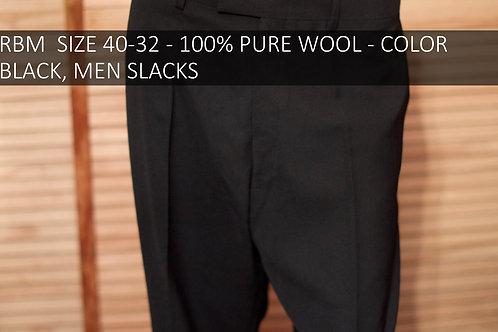 RBM SIZE 40/32 100% WOOL COLOR BLACK MEN SLACKS