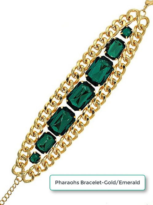 PHAROAHS LARGE ROYAL BRACELET - GOLD/EMERALD