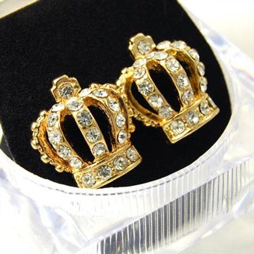 KING CROWN EARRINGS-GOLD