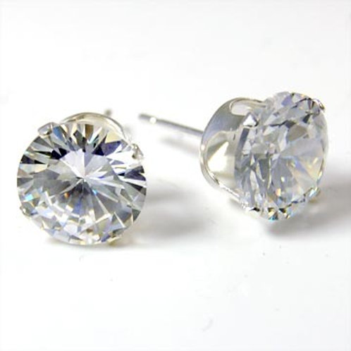 STERLING SILVER CZ ROUND EARRINGS
