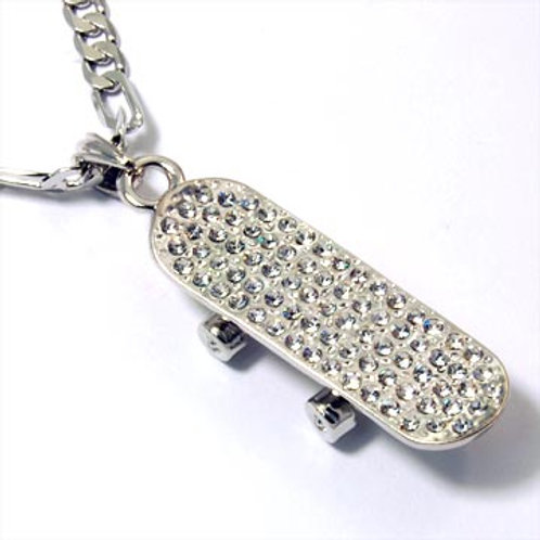 ICED SKATEBOARD PENDANT CHAIN-SILVER