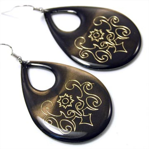 EPOXY TEARDROP FLORAL EARRINGS-BLACK