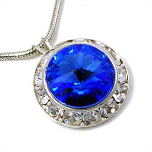FRAMED SWAROVSKI CRYSTAL NECKLACE-BLUE