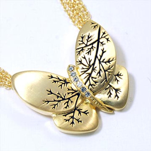 ENGRAVED BUTTERFLY CHAIN NECKLACE-GOLD
