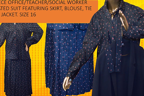 LIBRARIAN/TEACHER/SOCIAL SERVICE IMAGERY FEATURING SKIRT, BLOUSE AND TIE SIZE 16