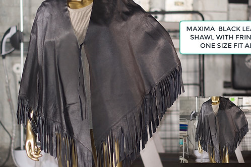 WILSON'S FRINGED BLACK LEATHER MAXIMA SHAWL 1SZ. FIT ALL