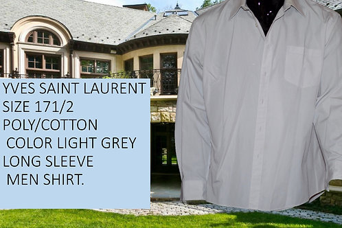 YVES SAINT LAURENT POLY/COTTON SIZE 171/2 LIGHT GRAY LONG SLEEVE MEN SHIRT