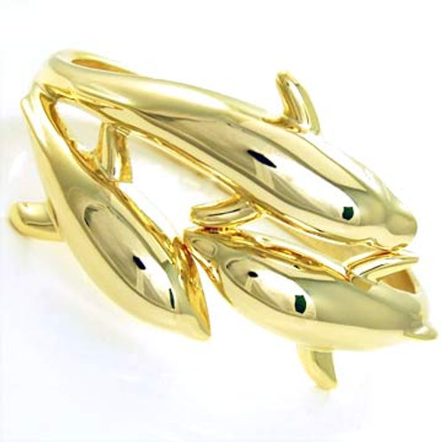 INTERLOCKED DOLPHIN HINGE BRACELET-GOLD
