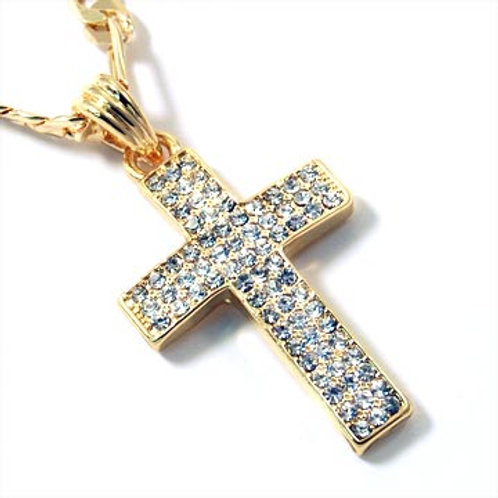 ICED OUT CROSS ON FIGARO CHAIN