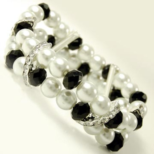 DOUBLE LINED PEARL AND CRYSTAL STRETCH BRACELET
