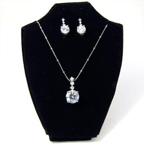 ROUND DROP CZ NECKLACE SET
