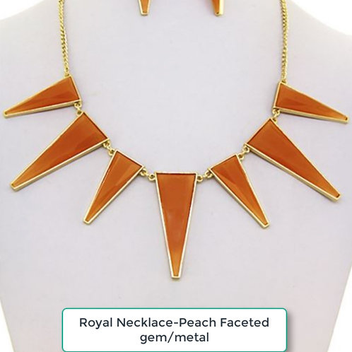 THE ROYAL PEACH FACETED GEM / METAL NECKLACE SET