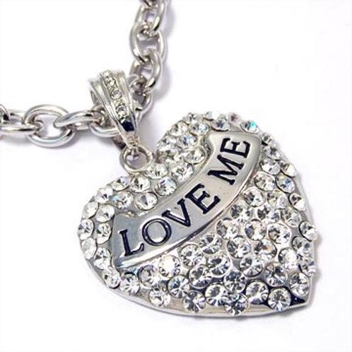 """LOVE ME"" HEART PENDANT NECKLACE-SILVER"