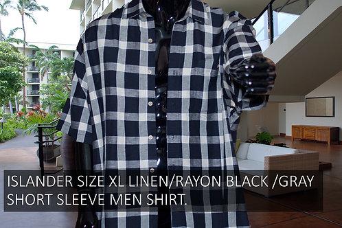 ISLANDER SIZE XL LINEN/RAYON, BLACK/GRAY SHORT SLEEVE MEN SHIRT.