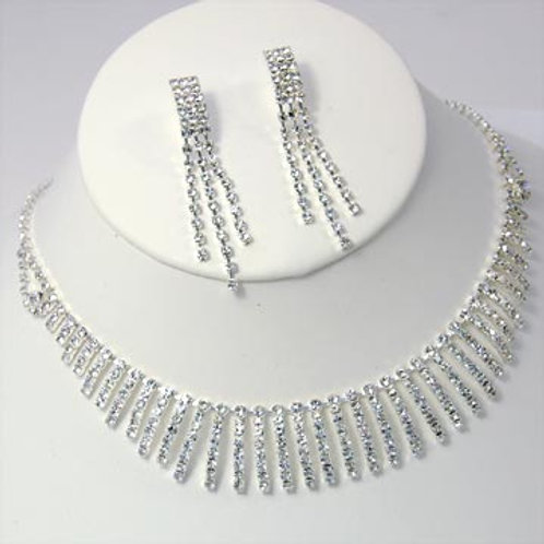 RHINESTONE BIB NECKLACE AND EARRING SET-SILVER