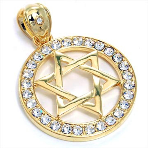 ROUND STAR OF DAVID PENDANT-GOLD