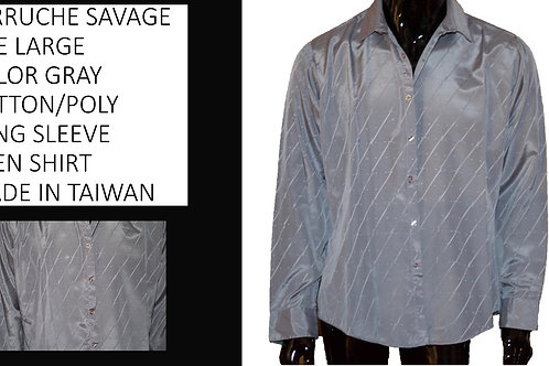 FERRUCHE' SAVAGE SIXE XL GRAY POLY/COTTON MEN LONG SLEEVE SHIRT