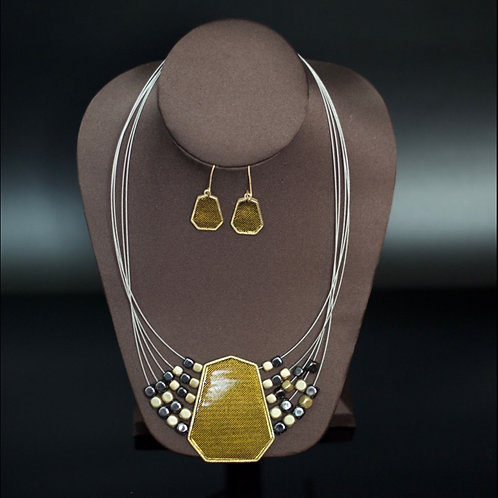 THE ROYAL STRAND ANTQ. GOLD/PEWTER NECKLACE SET