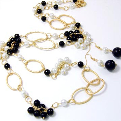 GLASS PEARL CLUSTERED LONG NECKLACE SET