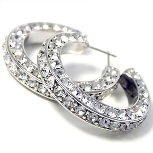 TRIPLE-SIDED RHINESTONE HOOP EARRINGS