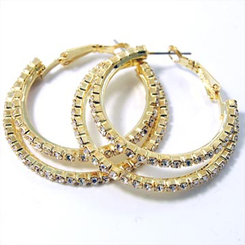 RHINESTONE SMALL DOUBLE RING HOOP EARRINGS-GOLD