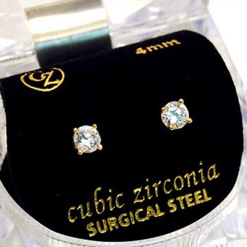 CUBIC ZIRCONIUM ROUND EARRINGS-GOLD