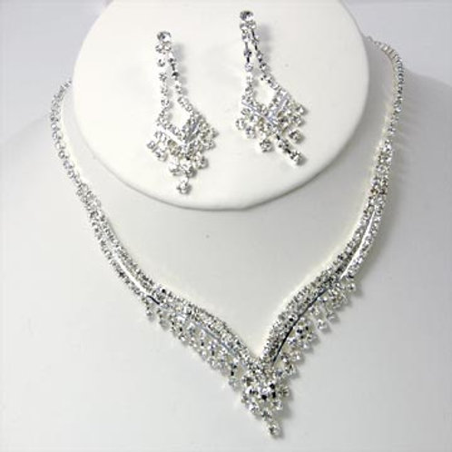 RHINESTONE CHANDELIER NECKLACE AND EARRING SET-SIL