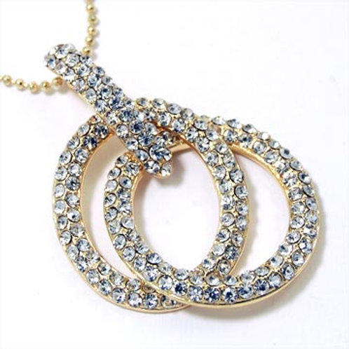 PAVE CRYSTAL INTERLOCKING RINGS NECKLACE