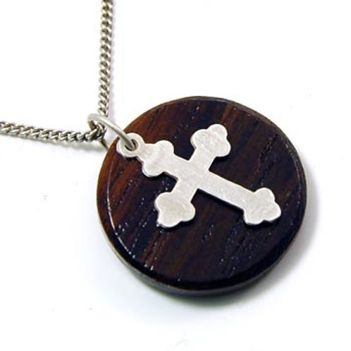 MAKE A WISH NECKLACE-WOOD,CROSS