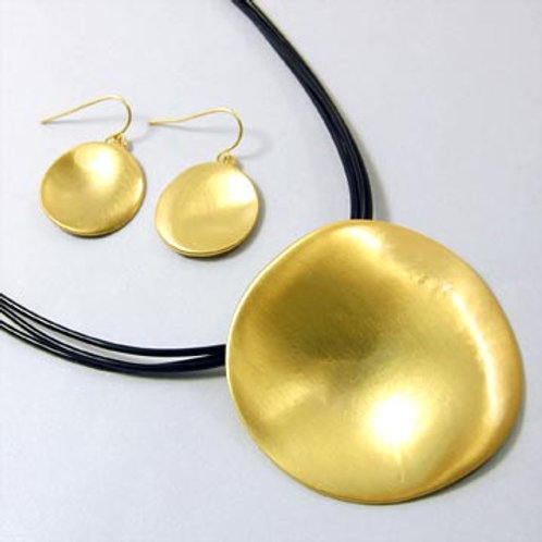 WAVY ORGANIC DISC NECKLACE SET-GOLD