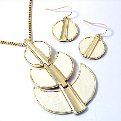 GEOMETRIC FAUX-PYTHON NECKLACE SET-IVORY