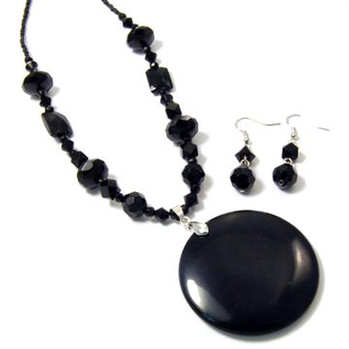 NATURAL STONE AND CRYSTAL NECKLACE SET-BLACK