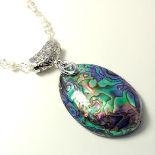 NATURAL OVAL ABALONE SHELL NECKLACE